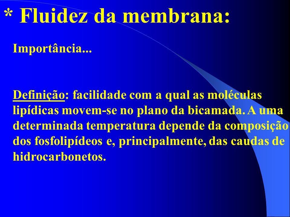 * Fluidez da membrana: Importância...