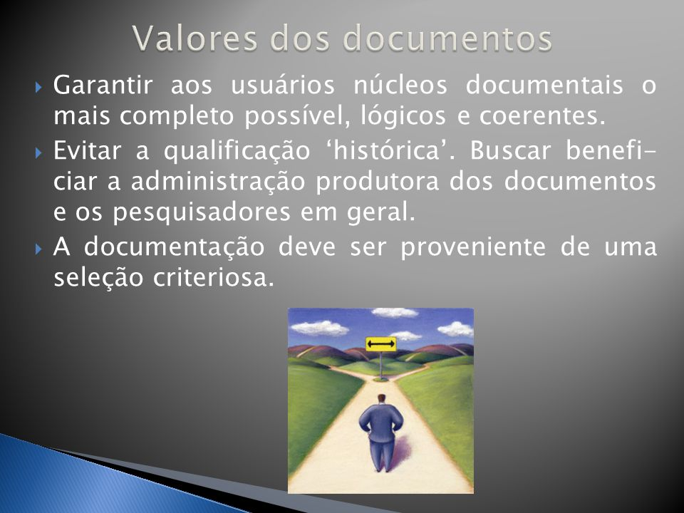 Valores dos documentos