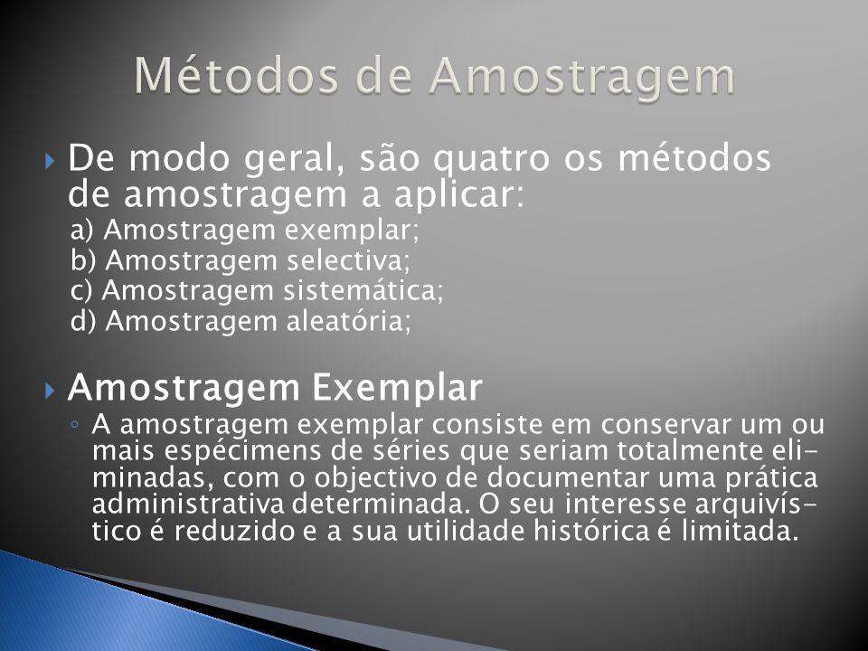 Métodos de Amostragem De modo geral, são quatro os métodos de amostragem a aplicar: a) Amostragem exemplar;