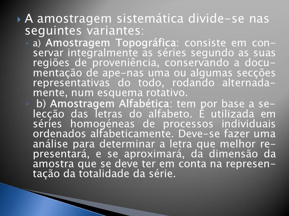 A amostragem sistemática divide-se nas seguintes variantes: