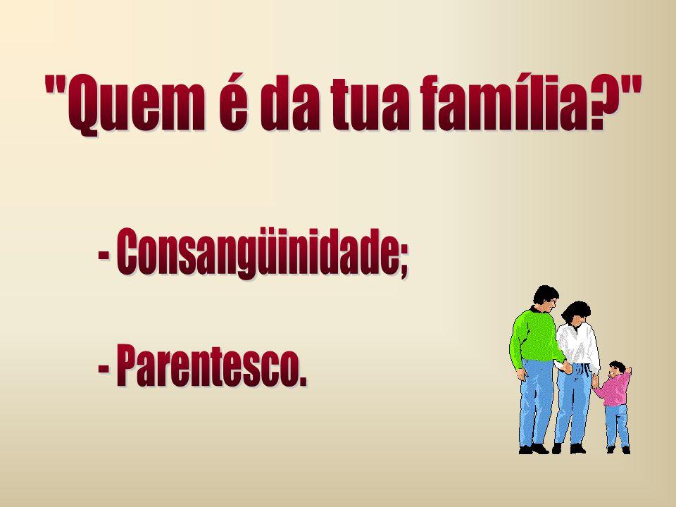 Quem é da tua família - Consangüinidade; - Parentesco.