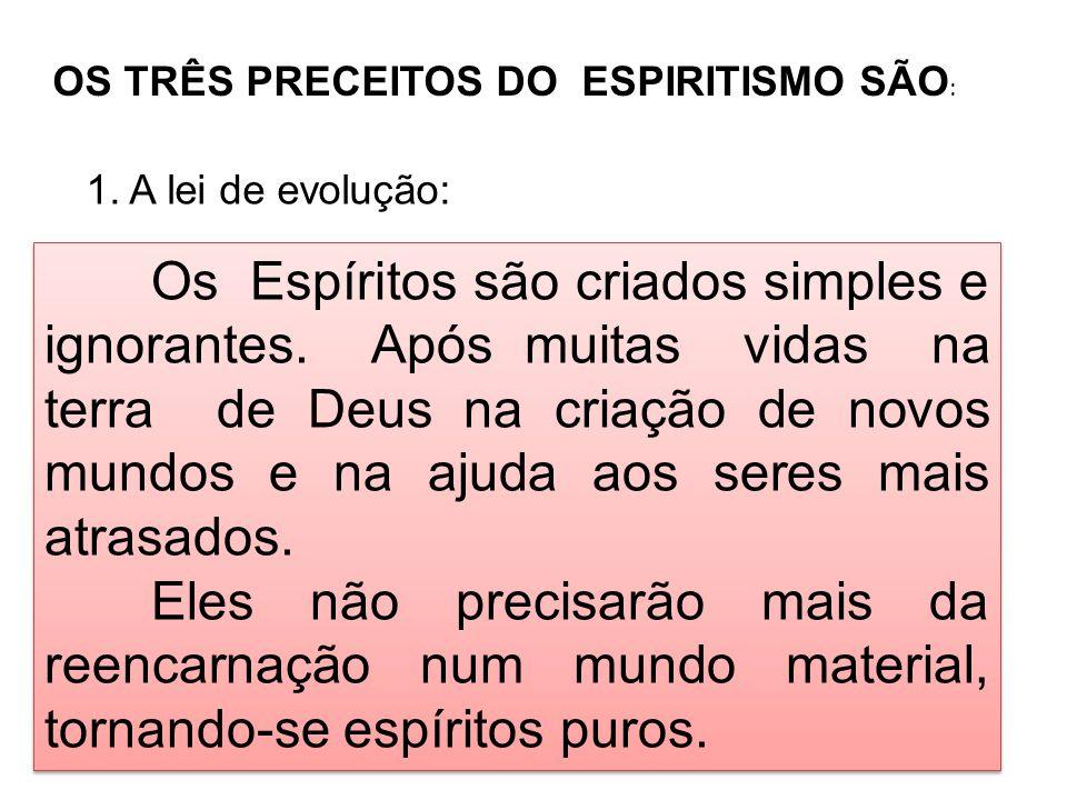 OS TRÊS PRECEITOS DO ESPIRITISMO SÃO: