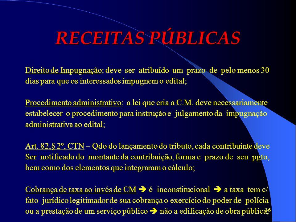 RECEITAS PÚBLICAS Direito de Impugnação: deve ser atribuído um prazo de pelo menos 30. dias para que os interessados impugnem o edital;