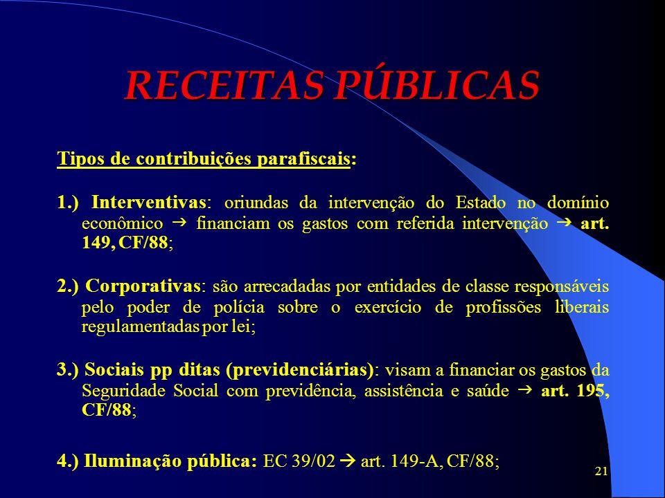 RECEITAS PÚBLICAS Tipos de contribuições parafiscais: