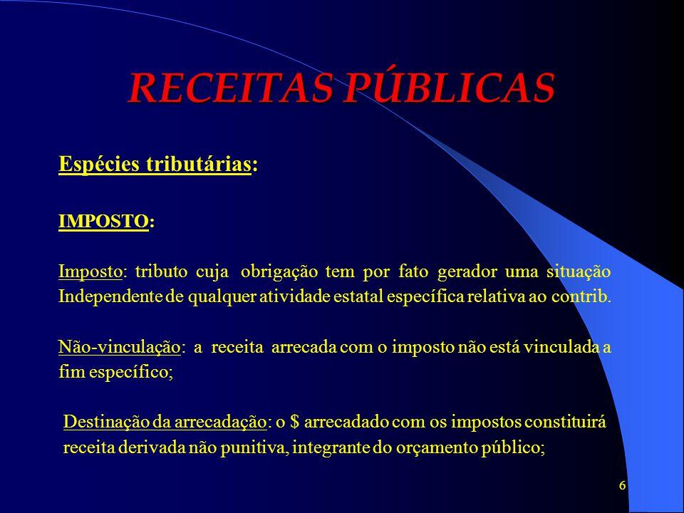 RECEITAS PÚBLICAS Espécies tributárias: IMPOSTO: