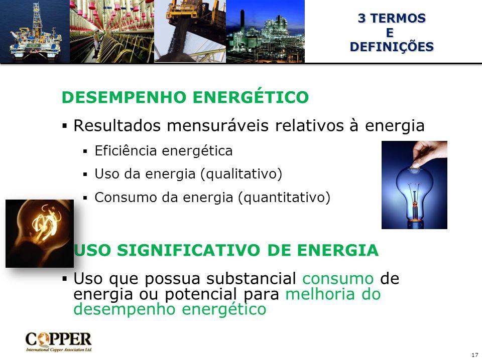 DESEMPENHO ENERGÉTICO Resultados mensuráveis relativos à energia
