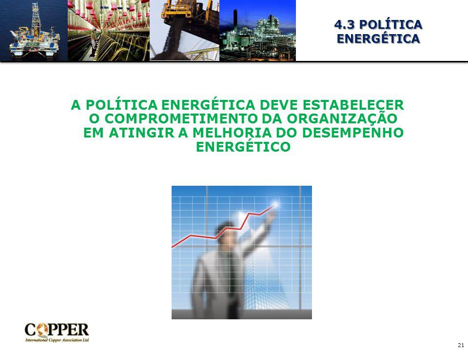 4.3 POLÍTICA ENERGÉTICA A POLÍTICA ENERGÉTICA DEVE ESTABELECER O COMPROMETIMENTO DA ORGANIZAÇÃO EM ATINGIR A MELHORIA DO DESEMPENHO ENERGÉTICO.