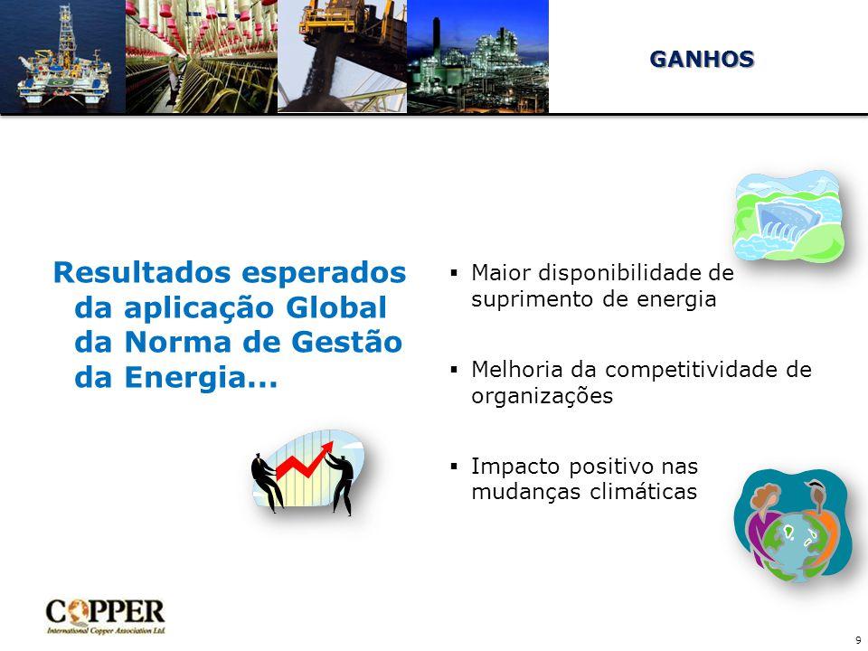 GANHOS Maior disponibilidade de suprimento de energia. Melhoria da competitividade de organizações.