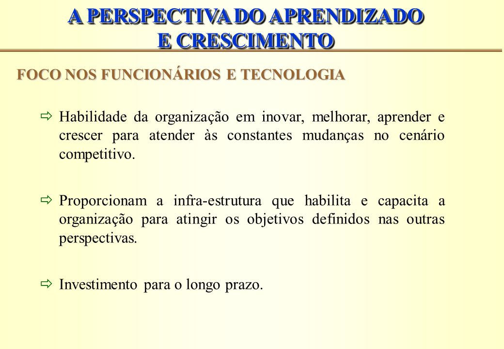 A PERSPECTIVA DO APRENDIZADO