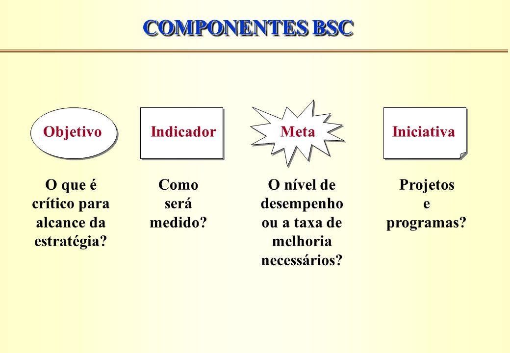 COMPONENTES BSC Meta O nível de desempenho ou a taxa de melhoria