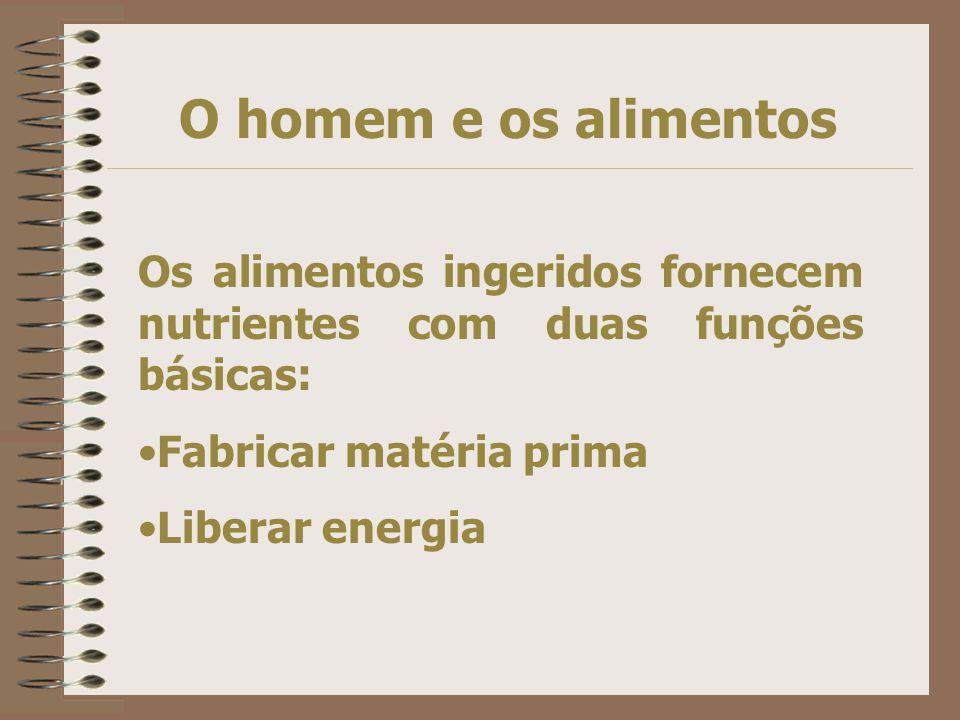O homem e os alimentos Os alimentos ingeridos fornecem nutrientes com duas funções básicas: Fabricar matéria prima.