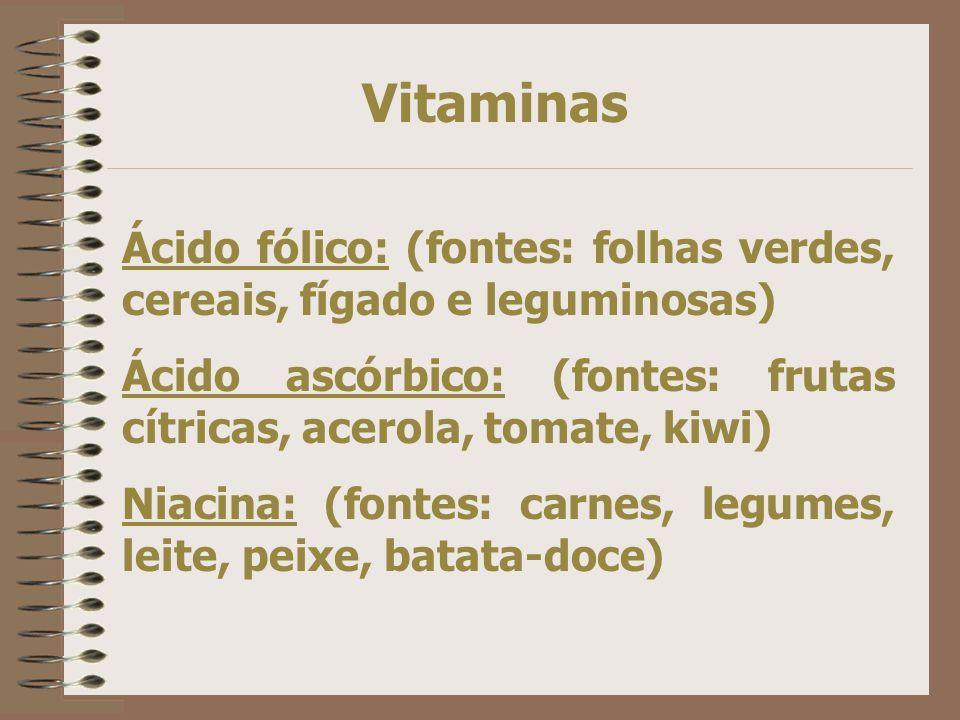 Vitaminas Ácido fólico: (fontes: folhas verdes, cereais, fígado e leguminosas) Ácido ascórbico: (fontes: frutas cítricas, acerola, tomate, kiwi)