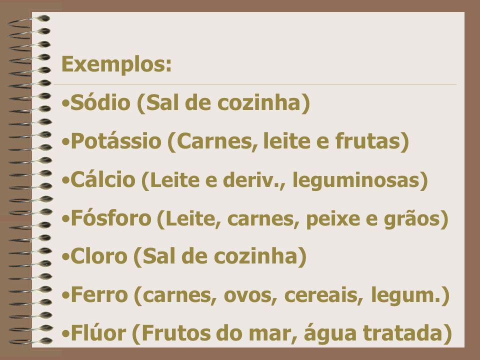 Exemplos: Sódio (Sal de cozinha) Potássio (Carnes, leite e frutas) Cálcio (Leite e deriv., leguminosas)