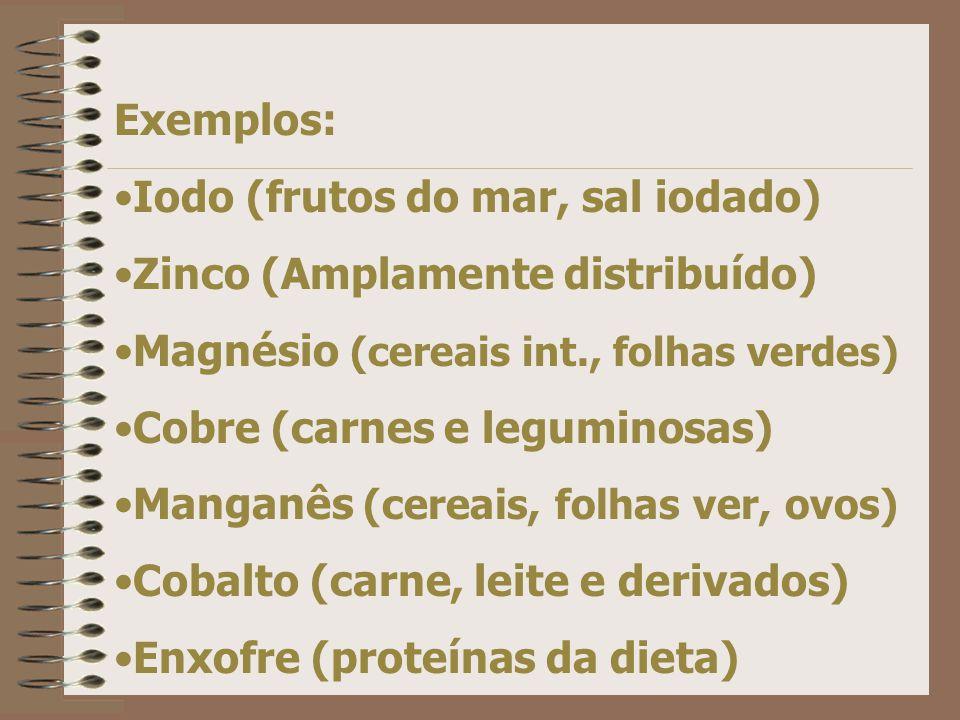 Exemplos: Iodo (frutos do mar, sal iodado) Zinco (Amplamente distribuído) Magnésio (cereais int., folhas verdes)