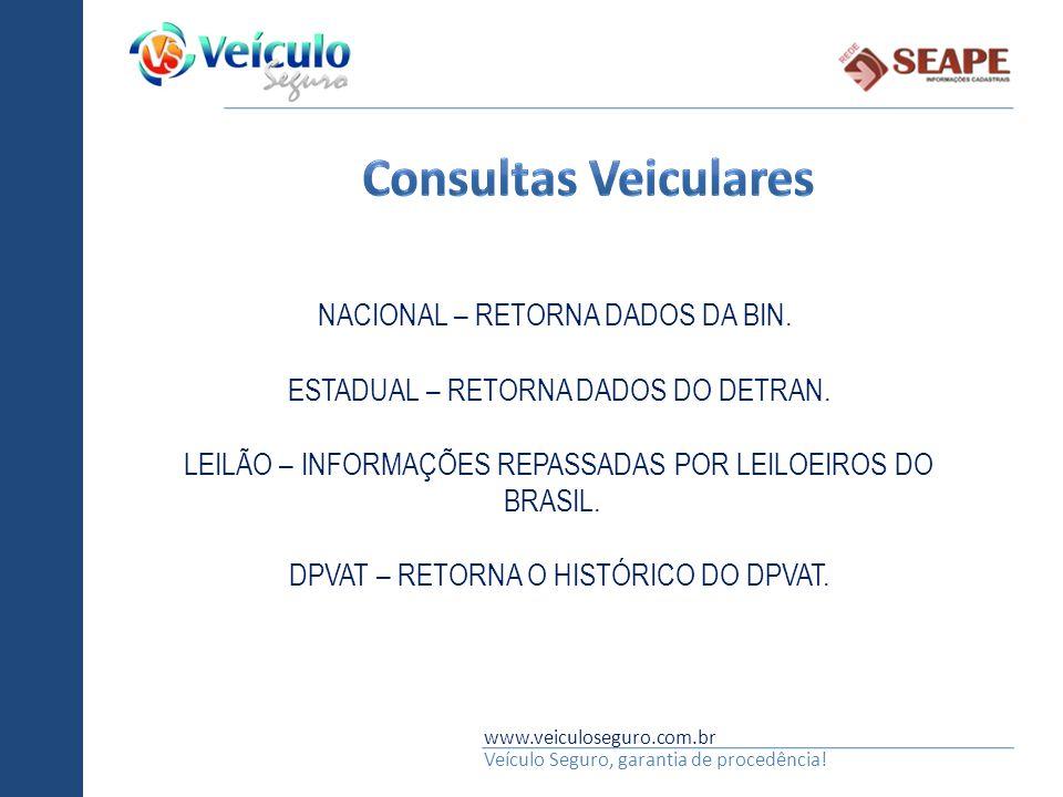 Consultas Veiculares NACIONAL – RETORNA DADOS DA BIN.