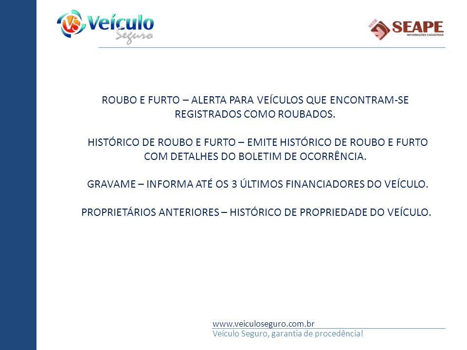 GRAVAME – INFORMA ATÉ OS 3 ÚLTIMOS FINANCIADORES DO VEÍCULO.