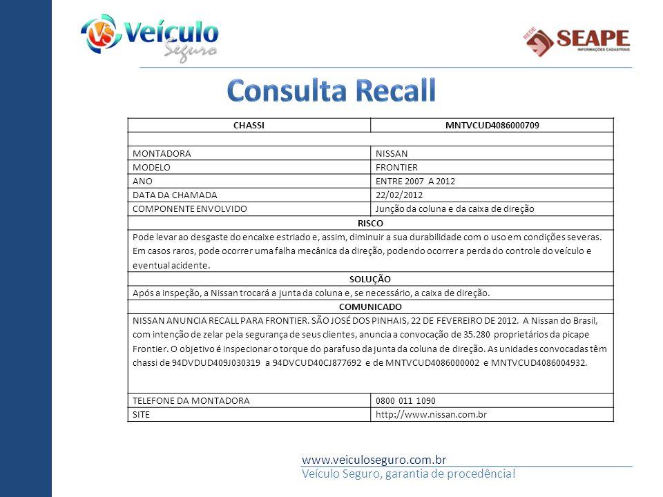 Consulta Recall www.veiculoseguro.com.br