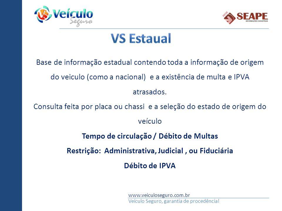 Vs estaual Base de informação estadual contendo toda a informação de origem do veiculo (como a nacional) e a existência de multa e IPVA atrasados.
