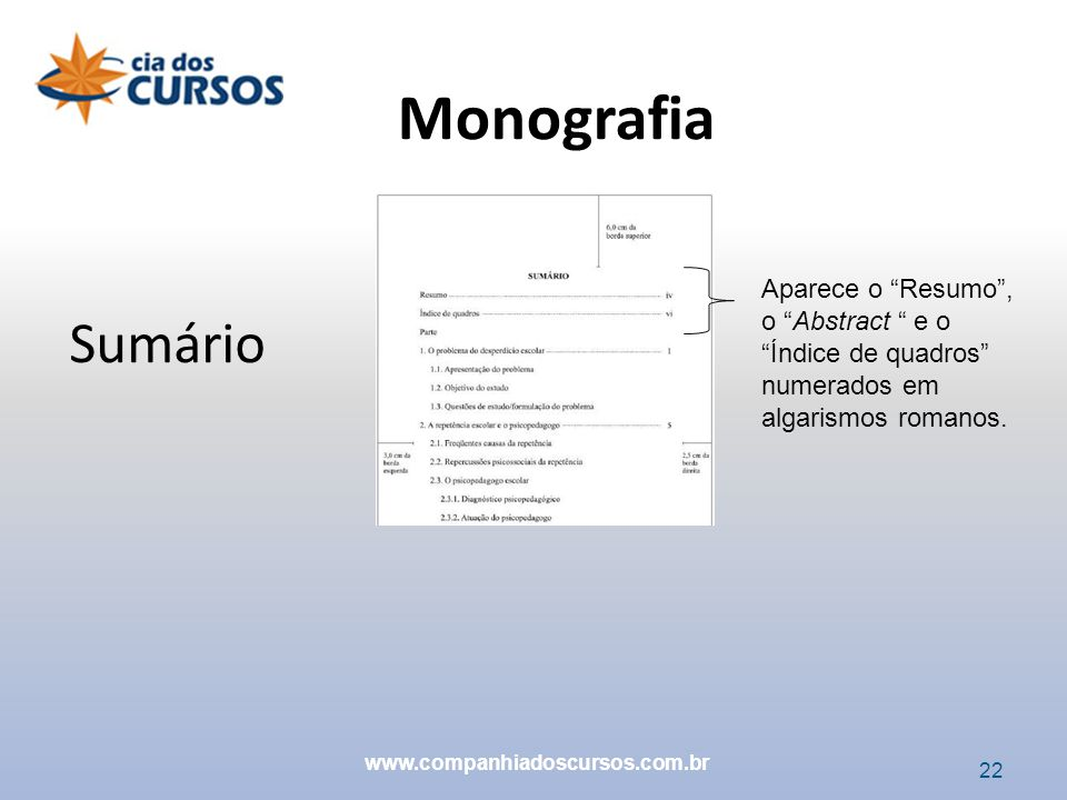 Monografia Aparece o Resumo , o Abstract e o Índice de quadros numerados em algarismos romanos.