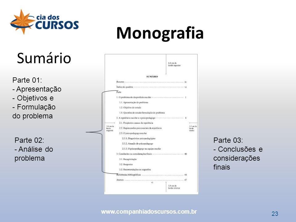 Monografia Sumário Parte 01: Apresentação Objetivos e