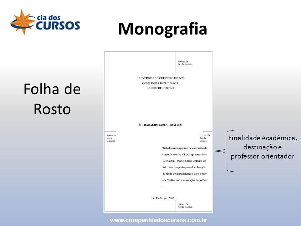 Monografia Folha de Rosto Finalidade Acadêmica, destinação e