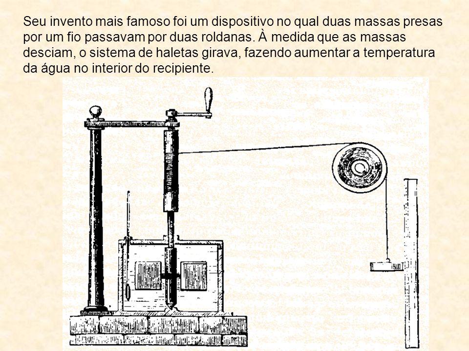 Seu invento mais famoso foi um dispositivo no qual duas massas presas por um fio passavam por duas roldanas.