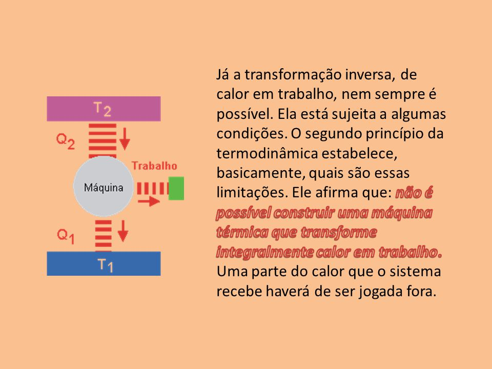 Já a transformação inversa, de calor em trabalho, nem sempre é possível.