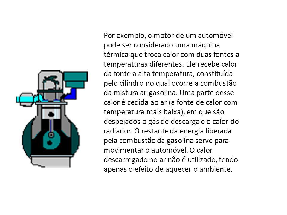 Por exemplo, o motor de um automóvel pode ser considerado uma máquina térmica que troca calor com duas fontes a temperaturas diferentes.