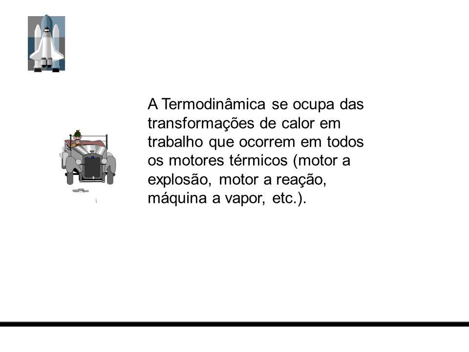 A Termodinâmica se ocupa das transformações de calor em trabalho que ocorrem em todos os motores térmicos (motor a explosão, motor a reação, máquina a vapor, etc.).
