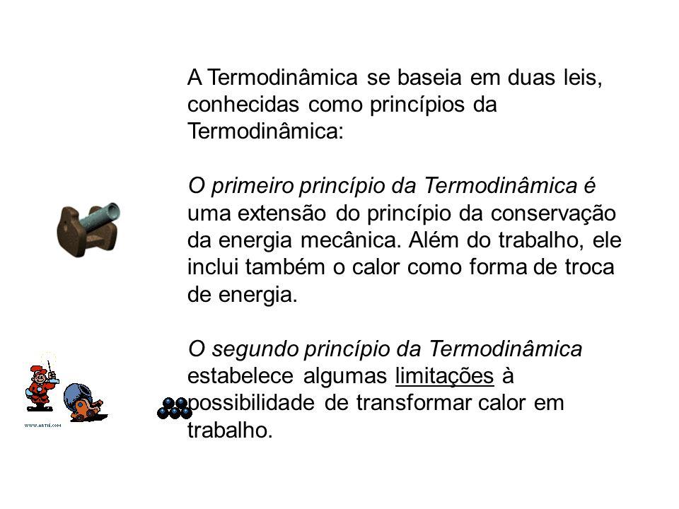 A Termodinâmica se baseia em duas leis, conhecidas como princípios da Termodinâmica: