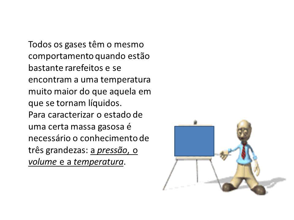 Todos os gases têm o mesmo comportamento quando estão bastante rarefeitos e se encontram a uma temperatura muito maior do que aquela em que se tornam líquidos.