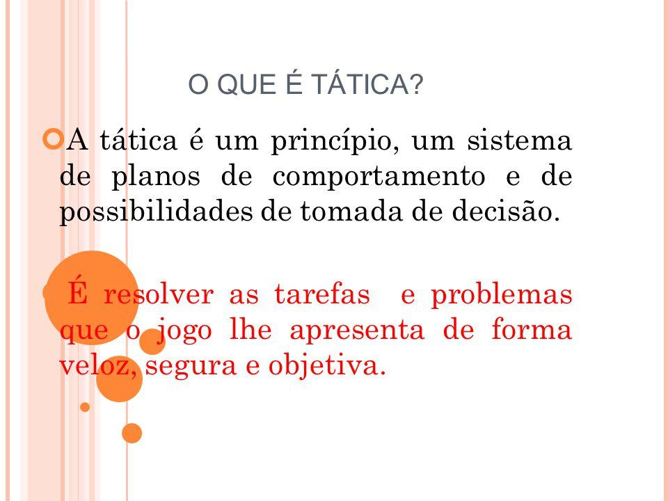 O QUE É TÁTICA A tática é um princípio, um sistema de planos de comportamento e de possibilidades de tomada de decisão.