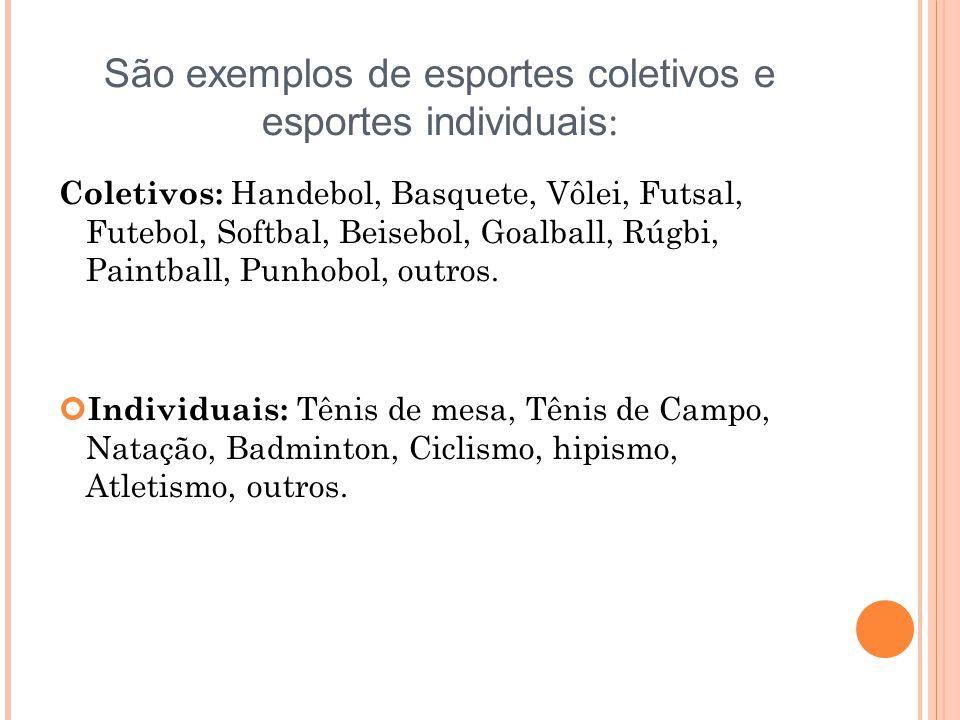 São exemplos de esportes coletivos e esportes individuais:
