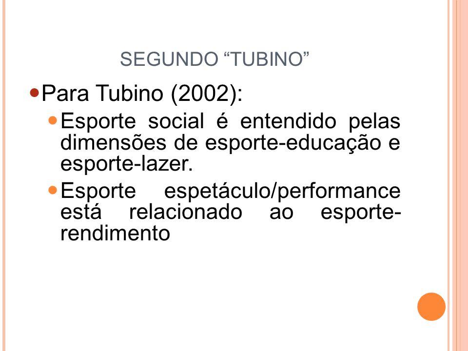 SEGUNDO TUBINO Para Tubino (2002): Esporte social é entendido pelas dimensões de esporte-educação e esporte-lazer.