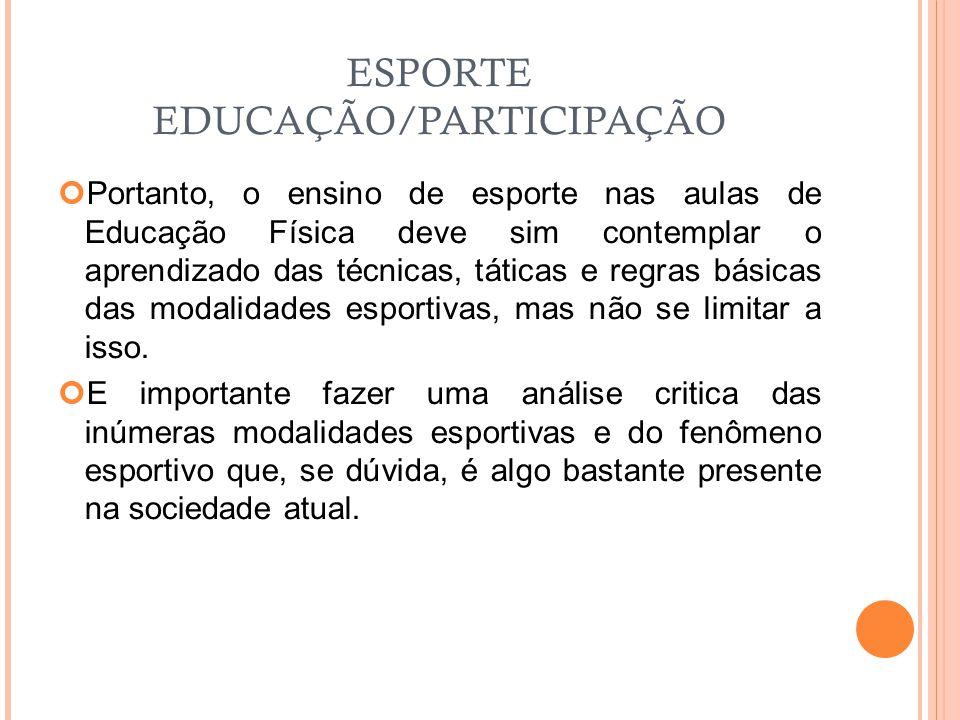ESPORTE EDUCAÇÃO/PARTICIPAÇÃO