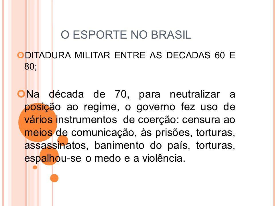 O ESPORTE NO BRASIL DITADURA MILITAR ENTRE AS DECADAS 60 E 80;