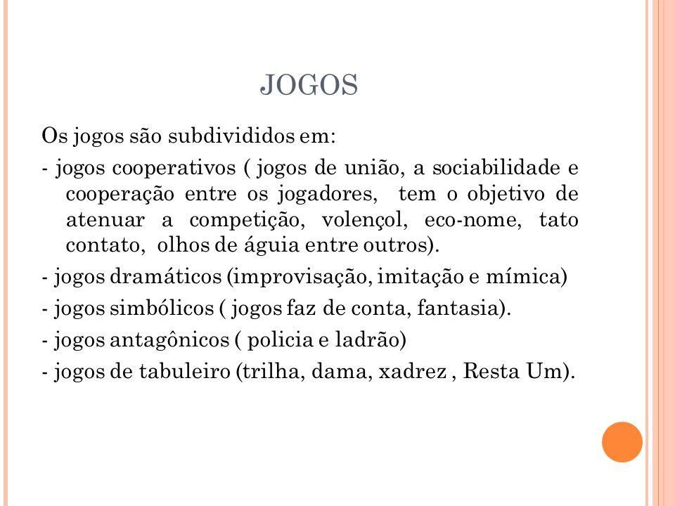 JOGOS Os jogos são subdivididos em: