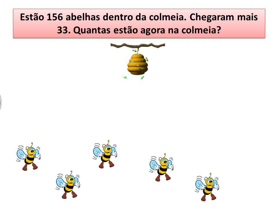 Estão 156 abelhas dentro da colmeia. Chegaram mais 33
