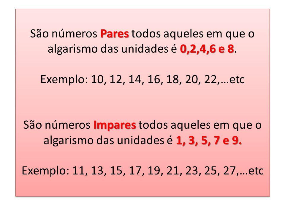 São números Pares todos aqueles em que o algarismo das unidades é 0,2,4,6 e 8.
