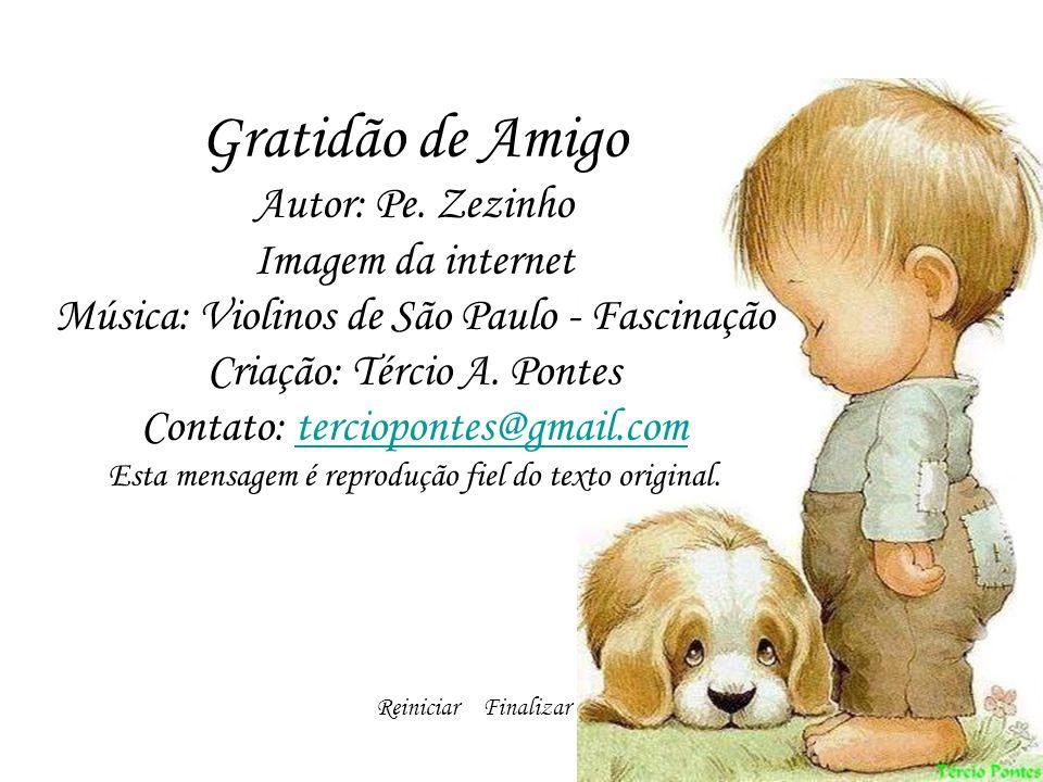Gratidão de Amigo Autor: Pe. Zezinho Imagem da internet