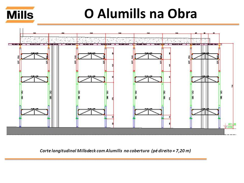 O Alumills na Obra Corte longitudinal Millsdeck com Alumills na cobertura (pé direito = 7,20 m)