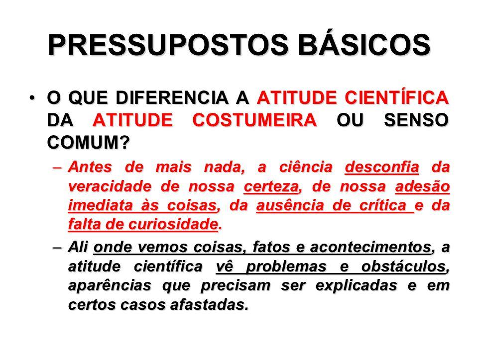 PRESSUPOSTOS BÁSICOS O QUE DIFERENCIA A ATITUDE CIENTÍFICA DA ATITUDE COSTUMEIRA OU SENSO COMUM