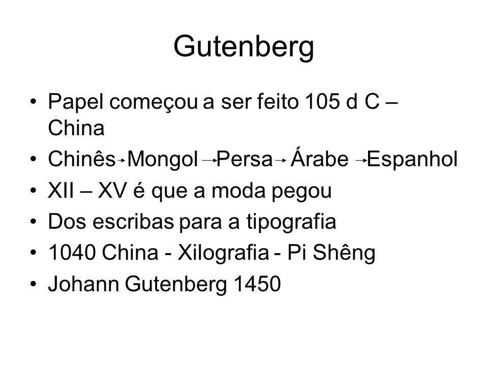 Gutenberg Papel começou a ser feito 105 d C – China