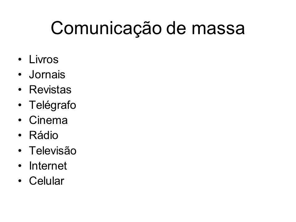Comunicação de massa Livros Jornais Revistas Telégrafo Cinema Rádio