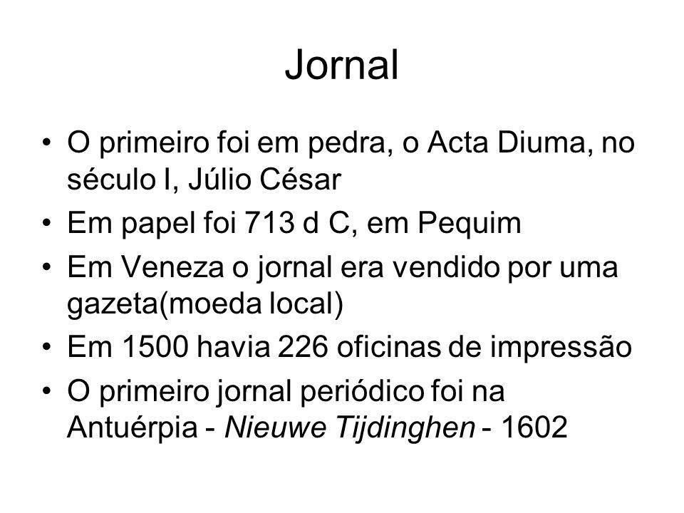 Jornal O primeiro foi em pedra, o Acta Diuma, no século I, Júlio César