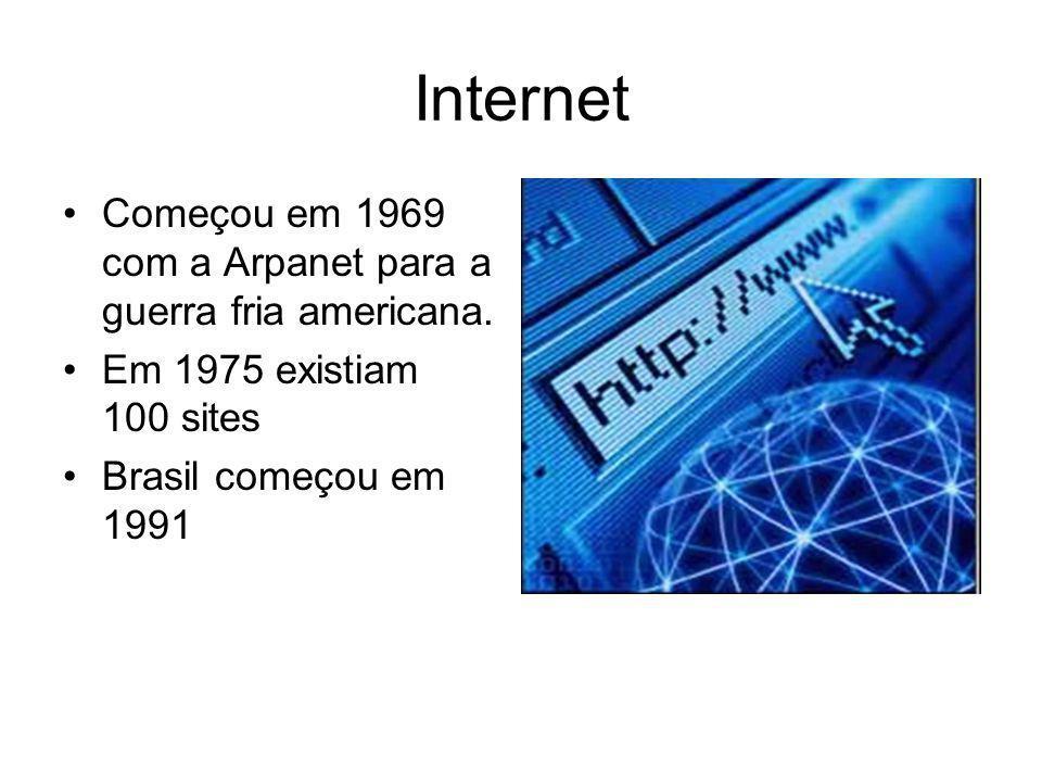 Internet Começou em 1969 com a Arpanet para a guerra fria americana.