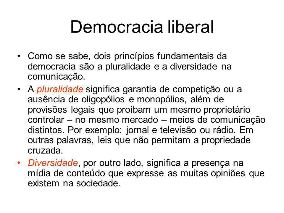 Democracia liberal Como se sabe, dois princípios fundamentais da democracia são a pluralidade e a diversidade na comunicação.