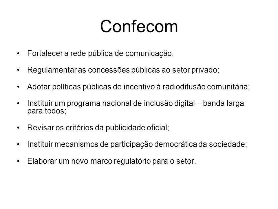 Confecom Fortalecer a rede pública de comunicação;