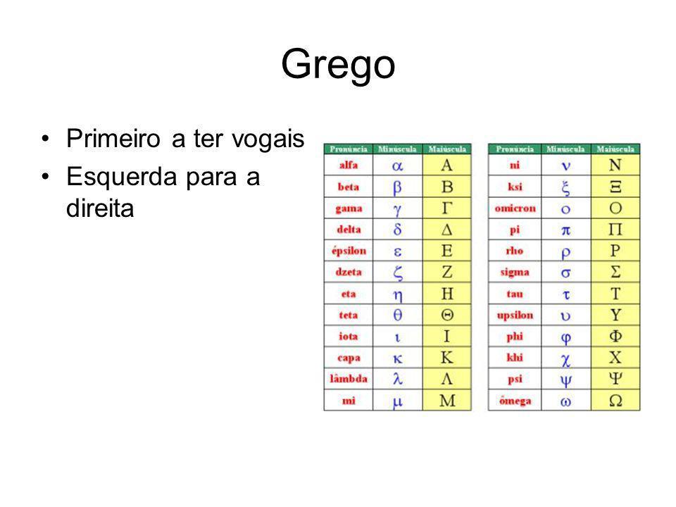 Grego Primeiro a ter vogais Esquerda para a direita
