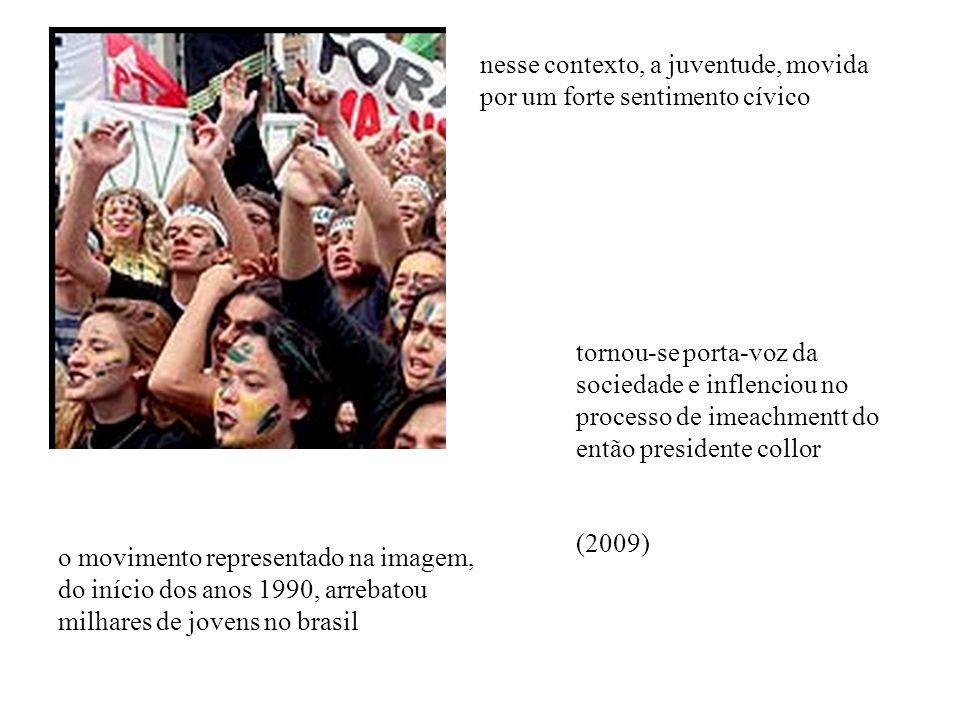 o movimento representado na imagem, do início dos anos 1990, arrebatou milhares de jovens no brasil nesse contexto, a juventude, movida por um forte sentimento cívico tornou-se porta-voz da sociedade e inflenciou no processo de imeachmentt do então presidente collor (2009)